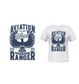 eagle bird t-shirt print mockup aviation club vector image vector image