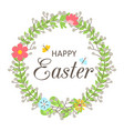 easter wreath with flowers butterflies leaves vector image