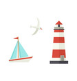 flat cartoon sailboat lighthouse flying seagull vector image