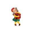 funny girl in santa hat holding christmas present vector image