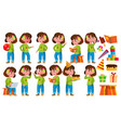 girl kindergarten kid poses set little vector image