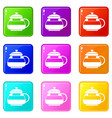 glass teapot icons 9 set vector image vector image