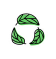 green leaves icons isolated on white vector image vector image
