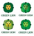 green lion logo set for flower shop landscaping vector image vector image