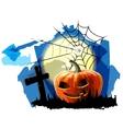 halloween party background with pumpkin vector image