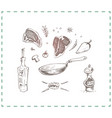 hand drawn fried steak doodle icons vector image