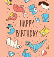 happy birthday origami card vector image vector image