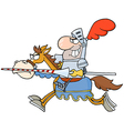 Happy Knight Riding Horse vector image