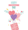 happy valentines day striped gift box balloons vector image