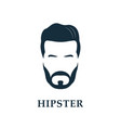 hipster face mens beard and hair vector image vector image