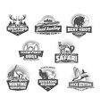 hunting club animals and gun retro icons vector image vector image