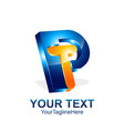 initial letter pt or tp logo template colored vector image