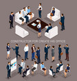 isometric set business people for conception vector image vector image