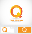 Letter q orange 3d logo icon vector image
