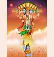 lord krishana showing vishvarupa darshan vector image