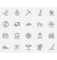 Mining industry sketch icon set vector image