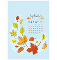 month calendar september 2018 vector image vector image