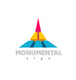 Monumental logo Colorful 3D building flat color vector image