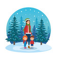 mother and kids with christmas clothes in vector image vector image