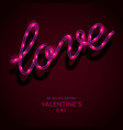neon sign word love on dark background vector image vector image