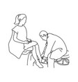 neurologist using small hammer to test ankle vector image vector image