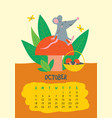 october calendar page with cute rat with mushroom vector image vector image