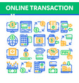 online transactions thin line icons set vector image