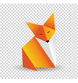 origami fox orange foxy and white color vector image vector image