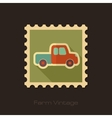 Pickup truck retro flat stamp with long shadow vector image