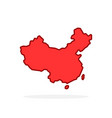 red cartoon linear china simple icon vector image vector image