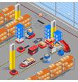 Robotic Warehouse Isometric Background vector image vector image