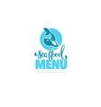 sea food menu logo template design with hand vector image