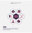 seo concept for presentation promotion social vector image vector image