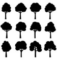 set black silhouettes trees vector image vector image