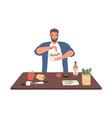 smiling man on diet cook vegetable salad on vector image