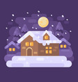 snowy purple winter village landscape with a vector image vector image