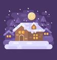 snowy purple winter village landscape with a vector image