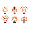 stylized set of lightbulbs with line dots vector image vector image