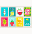 summer hand drawn calligraphyc card set with vector image vector image