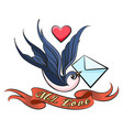 swallow with love letter tattoo vector image vector image
