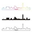 Taipei skyline linear style with rainbow vector image vector image