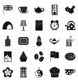 tea party icons set simple style vector image