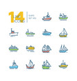 water transport - colorful line design icons set vector image vector image