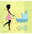 woman with a pram vector image vector image