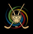 hockey helmet front view graphic vector image