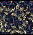 3d flowers and butterflies seaamless pattern vector image vector image