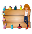 A girl and the different perfumes surrounding the vector image vector image