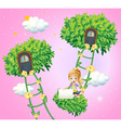 A girl holding an empty signboard near the ladder vector image vector image