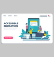 accessible education landing page online learning vector image