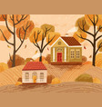 autumn landscape with hygge houses countryside vector image